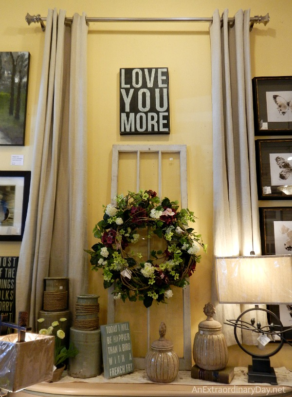 Love You More Home Decor Vignette at Canterbury Cottage :: AnExtraordinaryDay.net