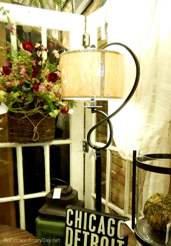 Wrought Iron Lamp and Floral Wall Basket at Canterbury Cottage :: AnExtraordinaryDay.net