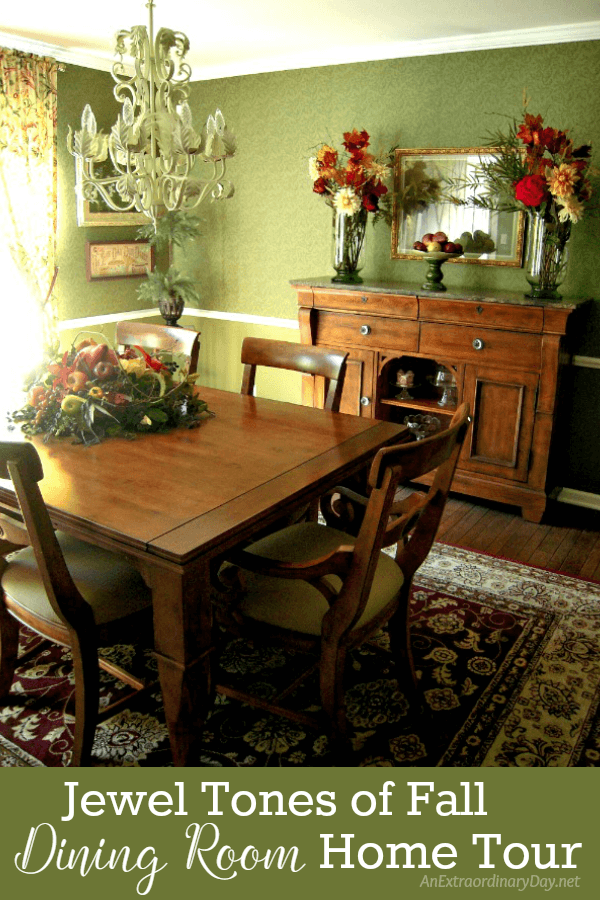 You'll fall in love and be inspired by the richness of this dining room filled with all the jewel tones of fall. Click here for more of the home tour. AnExtraordinaryDay.net