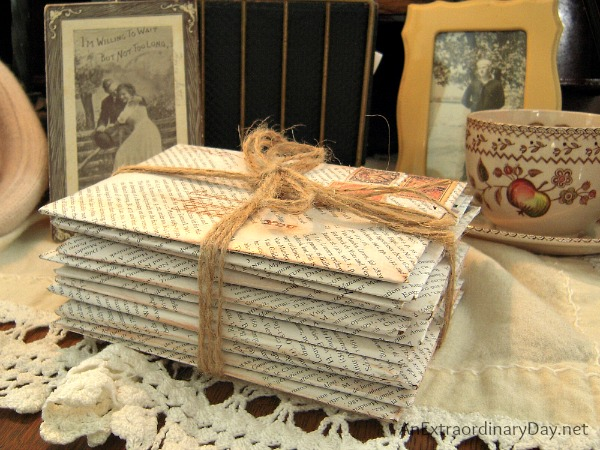 Book Page Envelopes :: Vintage Love Letter Vignette