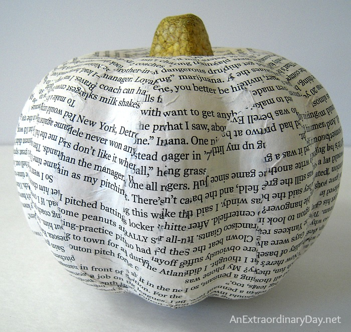 Great tutorial for you to create a flowery book page pumpkin.