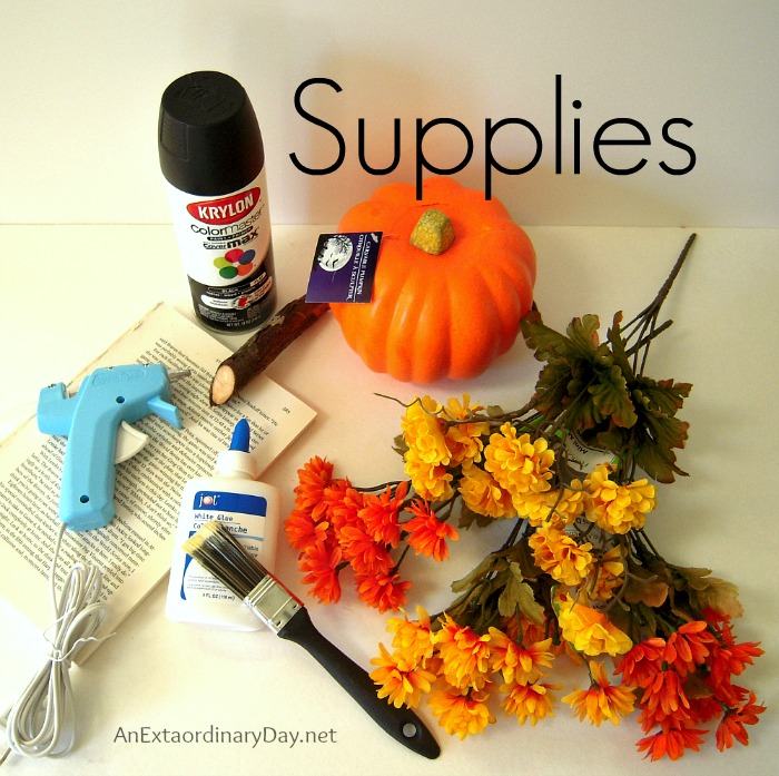 A few inexpensive supplies are all that's need to create a Flowery Book Page Pumpkin.