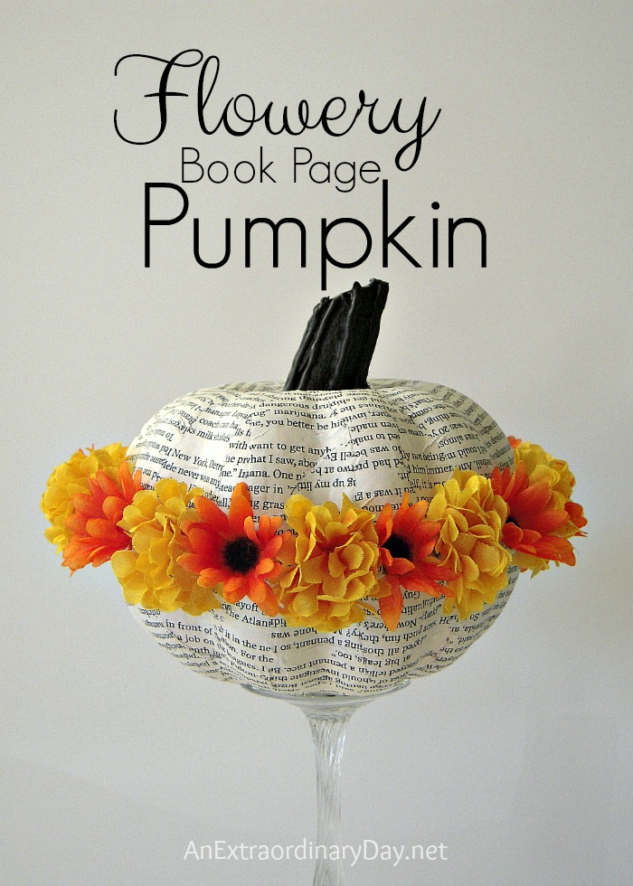 Create a flowery book page pumpkin for your Fall or Halloween decor.  Click on over for the tutorial by AnExtraordinaryDay.net You'll want to make a bevy of these cute book page pumpkins.  Smiles guaranteed.