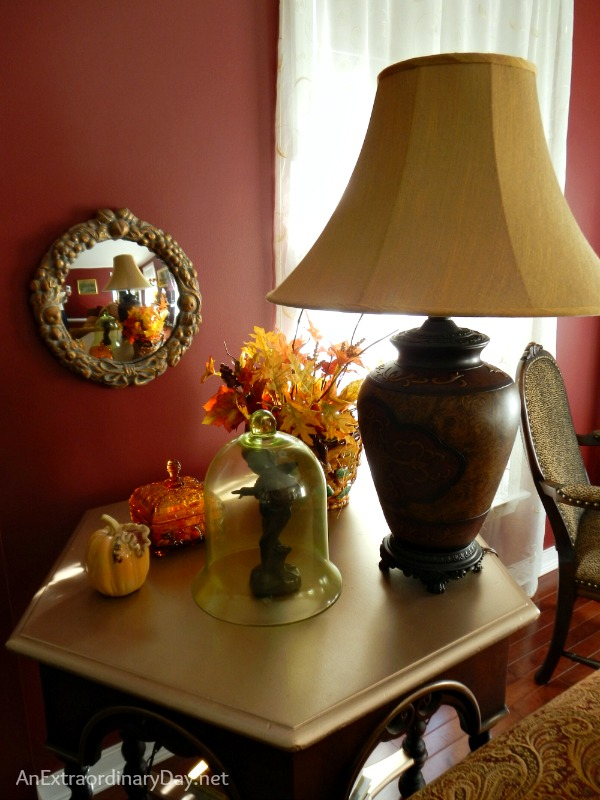 A sweetly styled side table and tips for dressing a living room for fall.