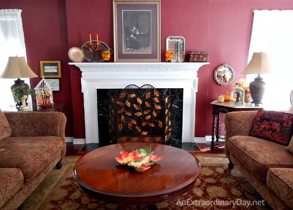 A beautifully decorated living room and tips for dressing a living room for fall.