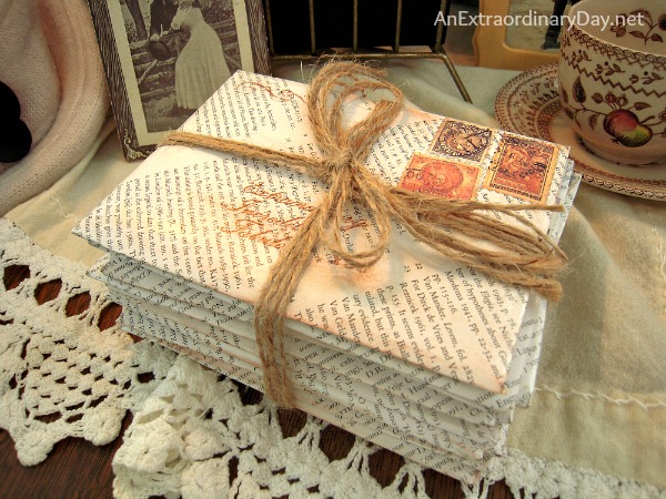 Homemade Book Page Envelopes :: Vintage Love Letter Vignette