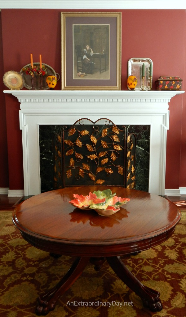 A striking mantel and tips for dressing a living room for fall.