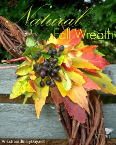 Natural Fall Wreath with Maple Leaves & Berries