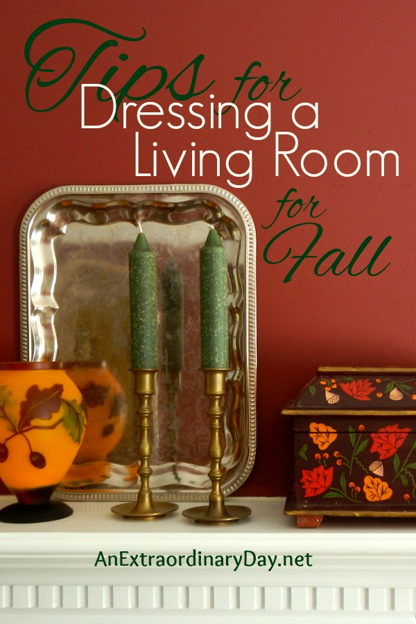 You see all these pretty fall spaces on Pinterest and you wonder how you can get that look?  I've got the answers for you here.  Click on this image get some pretty quick and easy tips for your fall home decor from AnExtraordinaryDay.net.