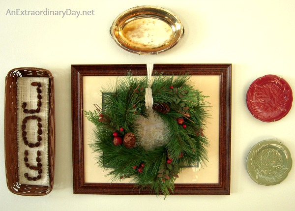 When creating Christmas memories with vignettes, don't forget about the wall... it can be a perfect spot for a vignette, too.