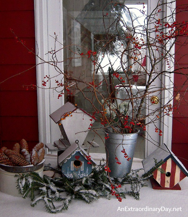 Create Christmas memories with vignettes outdoor as well as indoors. Here a patio table is dressed for winter.