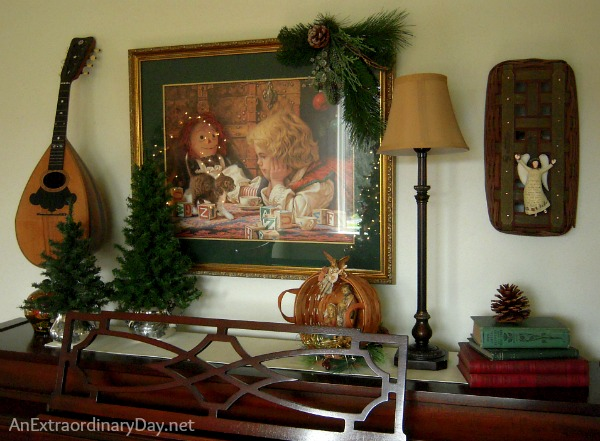 When creating Christmas memories with vignettes, don't forget all the wonderful space on top of the piano for memory making