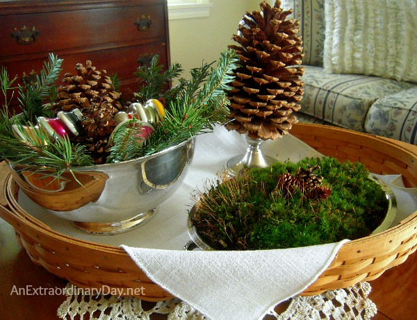 In Creating Christmas Memories with Vignettes a tray is perfect for holding a natural vignette.