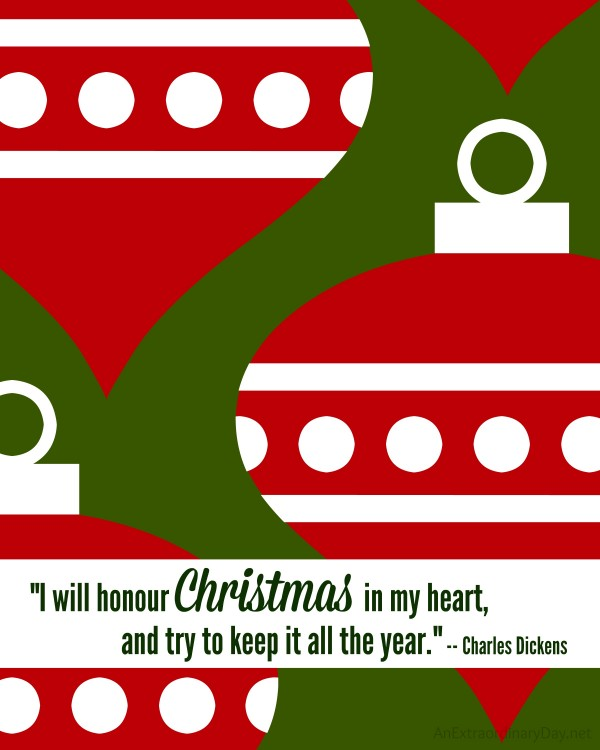 Charles Dickens Christmas Quote FREE Printable at AnExtraordinaryDay.net
