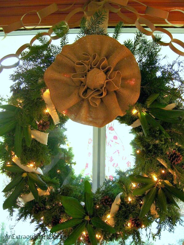 Decorating for Christmas on a shoestring budget? You'll love this shabby chic evergreen Christmas wreath and many more ideas from AnExtraordinaryDay.net