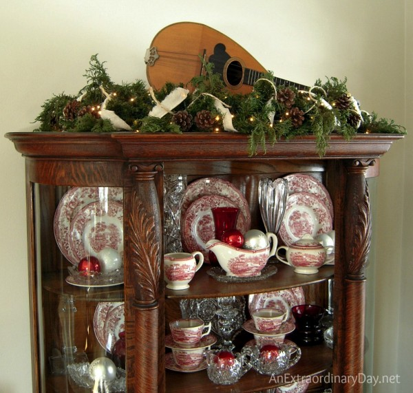 Faux and natural greens for shabby Christmas decor. AnExtraordinaryDay.net