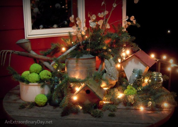 Night time wintry garden-styled vignette at AnExtraordinaryDay.net