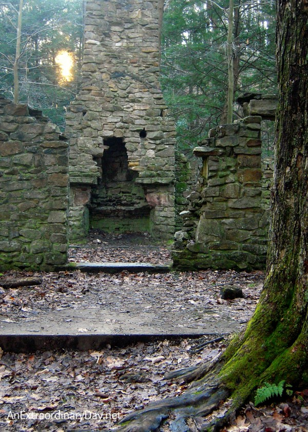 "Ruins of a stone house and fireplace and thoughts about cleaning ""house"" for Christmas."