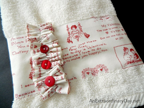 Pretty embellished hand towels for Valentine's Day at AnExtraordinaryDay.net