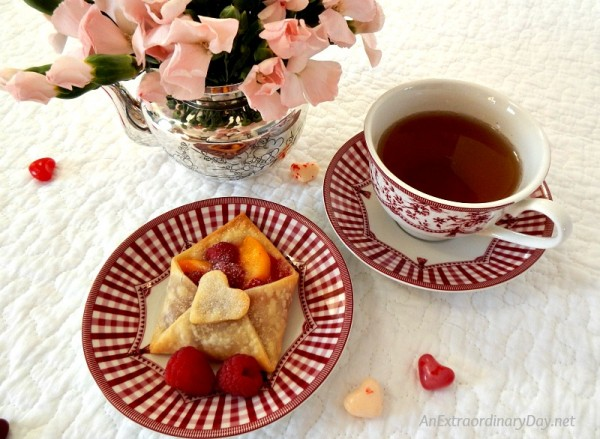 Valentine's Day Tea - Dainty Envelope Fruit Tarts - AnExtraordinaryDay.net