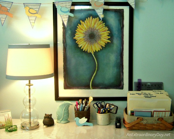 Craft table gets a new lamp. And the plain shade gets a quick and easy makeover - AnExtraordinaryDay.net
