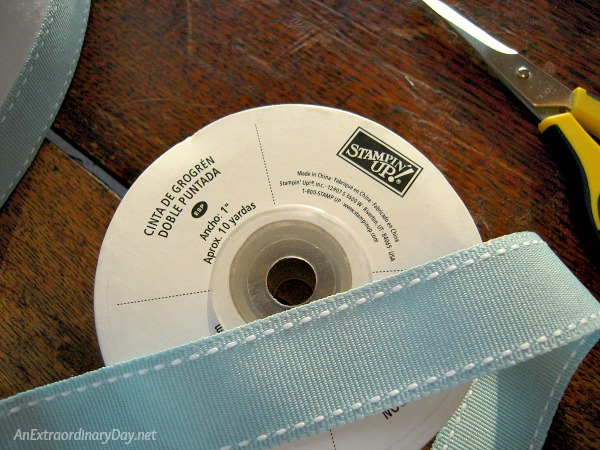 Quick and Easy Lampshade Makeover - Stampin' Up grosgrain ribbon - AnExtraordinaryDay.net