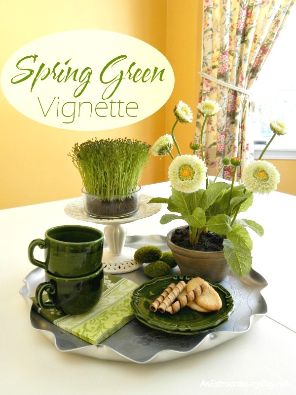 Quick and Easy Spring Green Vignette on a Tray.