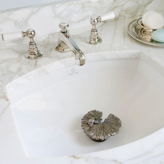 BHG - bathroom sink with lily pad sink stopper