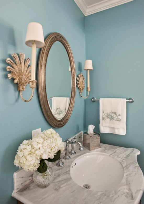 Bathroom vanity and mirror - turquoise and marble bath by Dona Rosene Interiors