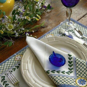 French Provincial Yellow White & Blue Table setting - AnExtraordinaryDay.net