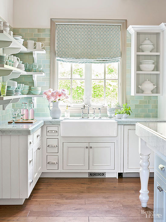 BHG Kitchen in white and shades of pale turquoise and the answer to... Why does my favorite color stress me out?