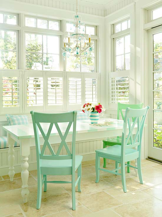Breakfast room with pale turquoise chairs and accents and the answer to... Why does my favorite color stress me out?