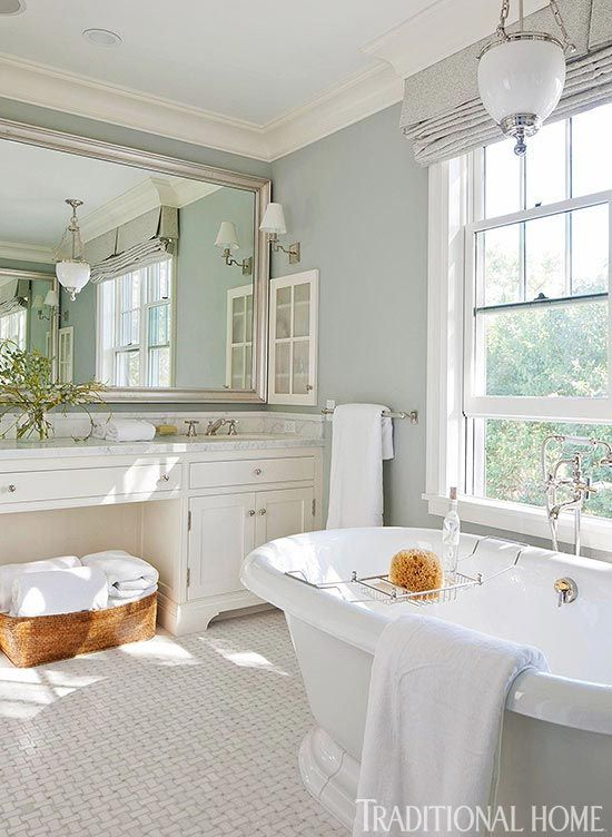 Elegant bathroom in white and pale turquoise and the answer to... Why does my favorite color stress me out?
