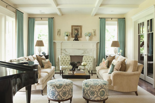 Living room with turquoise accents and the answer to... Why does my favorite color stress me out?