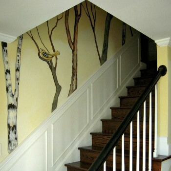 She's Got Trees and Birds - Hand Painted Decorative Wall Treatment AnExtraordinaryDay.net