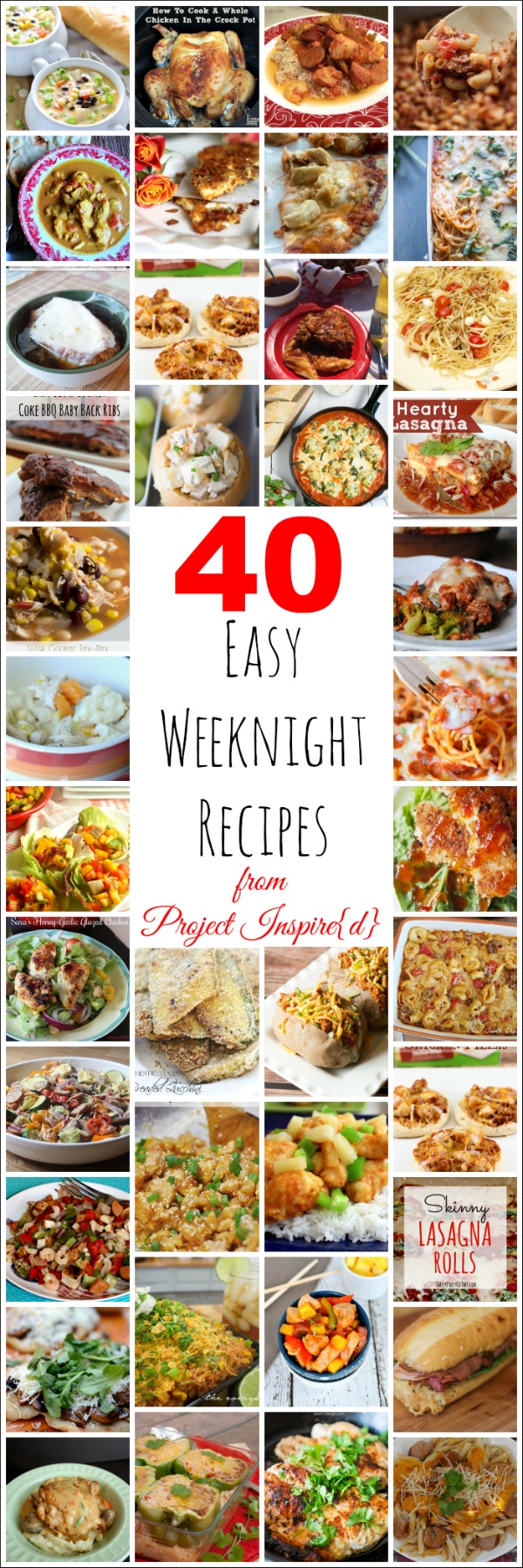 Do you feel challenged to figure out what to put on the table each night?  Here are delicious recipes to make weeknight dinners easier.  Use this round-up to put together a menu for next month.  It's a guaranteed stress reliever and a trove of new recipes to try.  Bon appetit!