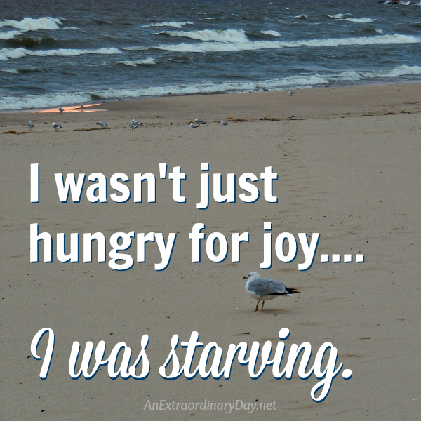 I wasn't just hungry for joy.... I was starving.