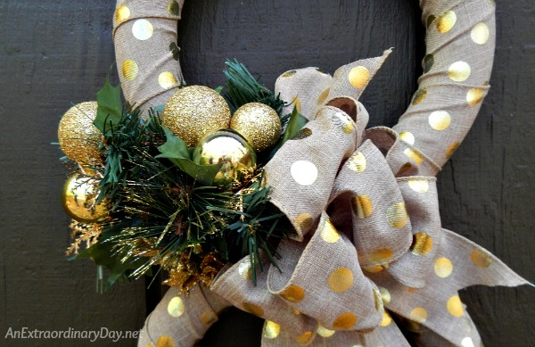 Gold and polka-dots embellished stunning transition wreath for Thanksgiving to Christmas