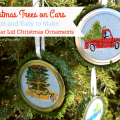 Christmas Trees on Cars and Trucks - Fun and Easy to Make Mason Jar Lid Christmas Ornaments - AnExtraordinaryDay.net