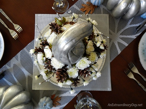 Create a Simple but Spectacular Silver Thanksgiving Centerpiece - AnExtraordinaryDay.net