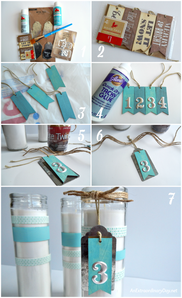 How to Make Coastal Advent Candles - How to Make Advent Candle Metal and Wood Tags - AnExtraordinaryDay.net