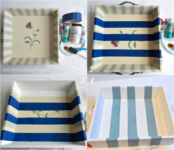 How to Make Coastal Advent Candles - Steps to Painting the Tray for a Nautical Look - AnExtraordinaryDay.net