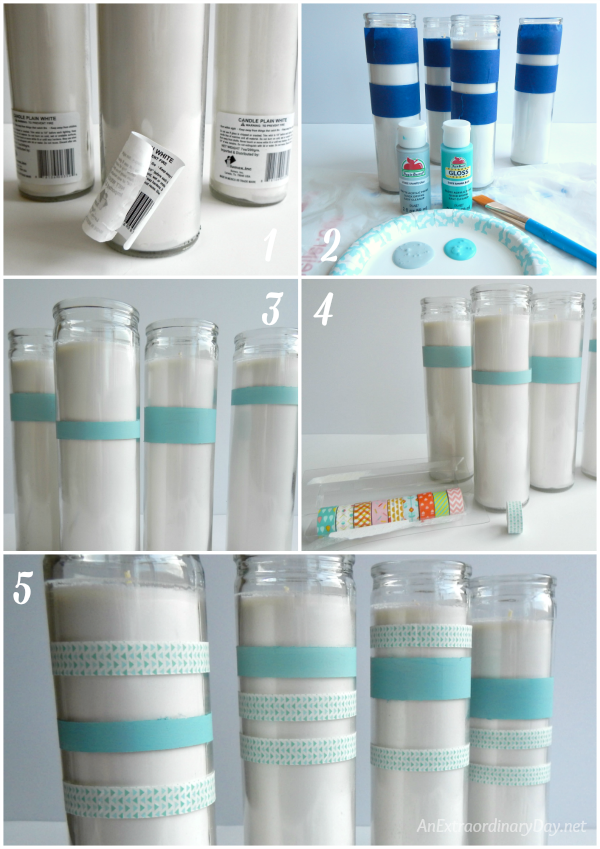 How to Make Coastal Advent Candles - Using Paint and Washi Tape to Stripe the Candles - AnExtraordinaryDay.net