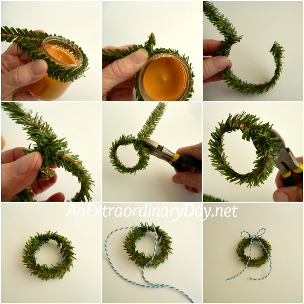 How to create a mini wreath with evergreen tie-ons - AnExtraordinaryDay.net