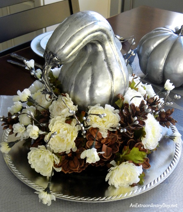 Make a Simple but Spectacular Silver Thanksgiving Centerpiece with Silvered Gourds and Pumpkins - AnExtraordinaryDay.net