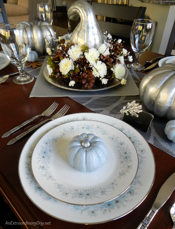 Make a Simple but Spectacular Silver Thanksgiving Centerpiece with Silvered Pumpkins and Gourds - AnExtraordinaryDay.net