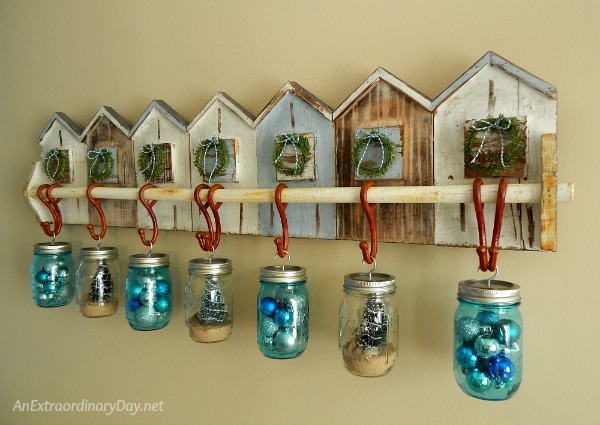 Make it a Coastal Christmas with Hanging Clear and Blue Ball Mason Jars - AnExtraordinaryDay.net