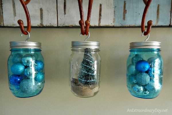 Make it a Coastal Christmas with Hanging Mason Jars in Blue and Clear Glass - AnExtraordinaryDay.net