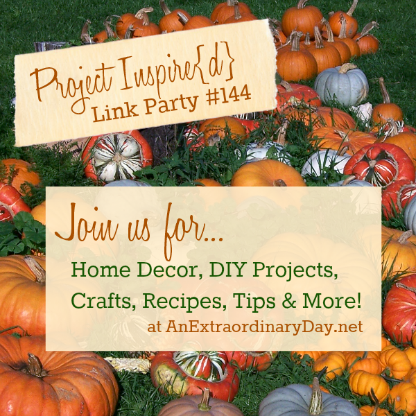 Project Inspire{d} is one amazing link party.  Please join us to share or view home decor, DIY projects, crafts, recipes, tips, and soooo much more!  This is one fabulous link party you don't want to miss.  Come on over... there's a ton of inspiration waiting for you!