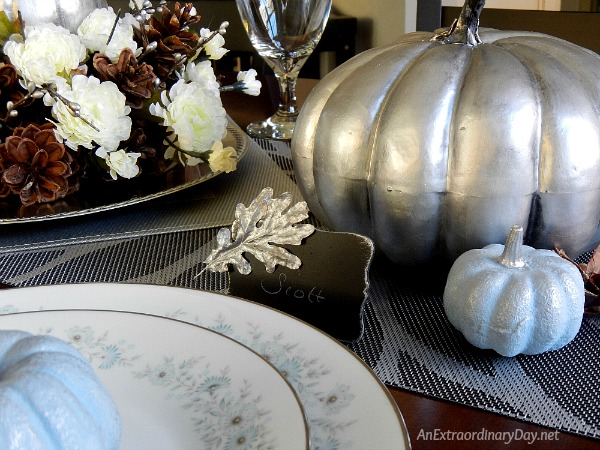 Simple but Spectacular Silver Thanksgiving Centerpiece - AnExtraordinaryDay.net